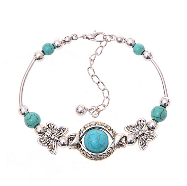 Silver Plated Color Turquoise Bracelets & Bangles Inlay Roundness Bead Nation Bohemian Women Ethnic Jewelry - Sonia's store