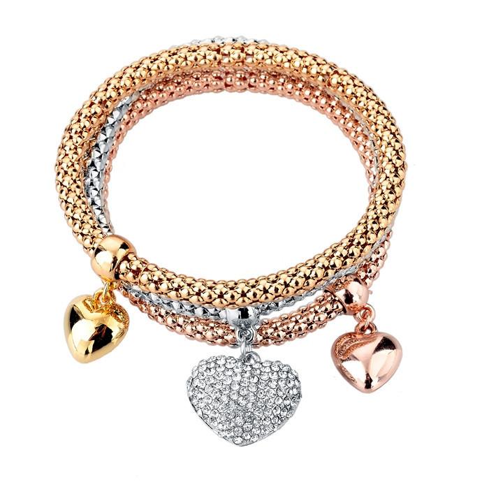 Урожай подвеска браслет мода женщин браслеты браслеты 3 шт. разнослоистое шарм золотой браслет серебряная цепочка SBR150186