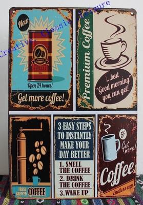 Free shipping Vintage coffee metal sign ,retro coffee metal poster for coffee shop home wall decoration ,coffee wall art 30x20cm(China (Mainland))