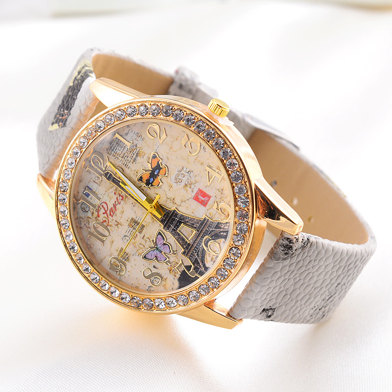 Hot Sale Women Watches 2016 Fashion Paris Style Tower Butterfly PU Leather Women Watch New Ladies Christmas Gift Wholesale