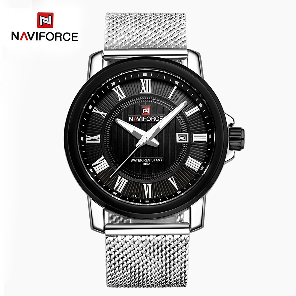 Original NAVIFORCE Men Watch Luxury Brand Analog Date Stainless Steel Strap Quartz Watches Men Waterproof Military Men's Watches(China (Mainland))