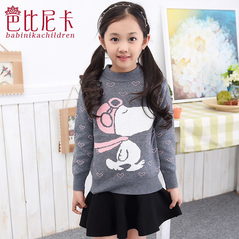2015 Fashion Big Girls Sweaters Autumn Winter Warm Cartoon Girls Pullover 4 5 6 7 8 9 10 11 12 13 14 15 16 Year Old Girl Clothes(China (Mainland))