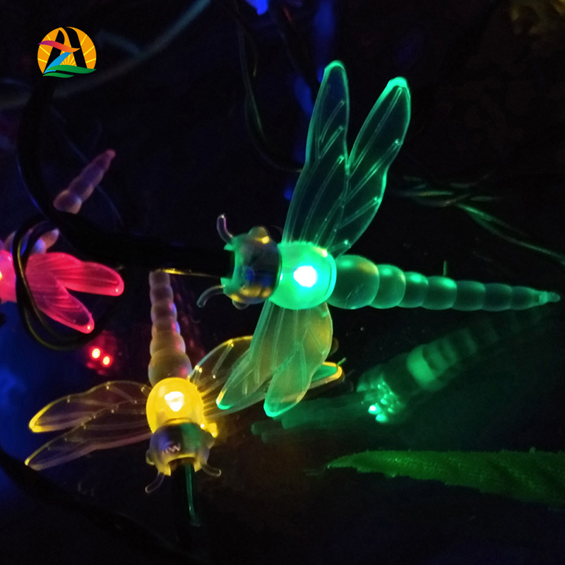 2016 Hot 4.8M 20LED Dragonfly Energy Saving Solar Fairy LED String Light Lamp Outdoor Lighting Strings Party Garden Decoration(China (Mainland))