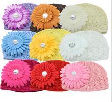 50pcs knitting hats cotton kufi caps with peony Gerbera flower hair clip Classic Knit Handmade hats crochet beanie MZ9110(China (Mainland))