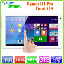 10.6 inch Ramos i11 Pro Dual Boot  Win 8.1+ Android 4.4 OS Intel Z3735F Quad Core 2GB RAM 64GB ROM Tablet PC 5.0MP Camera(China (Mainland))