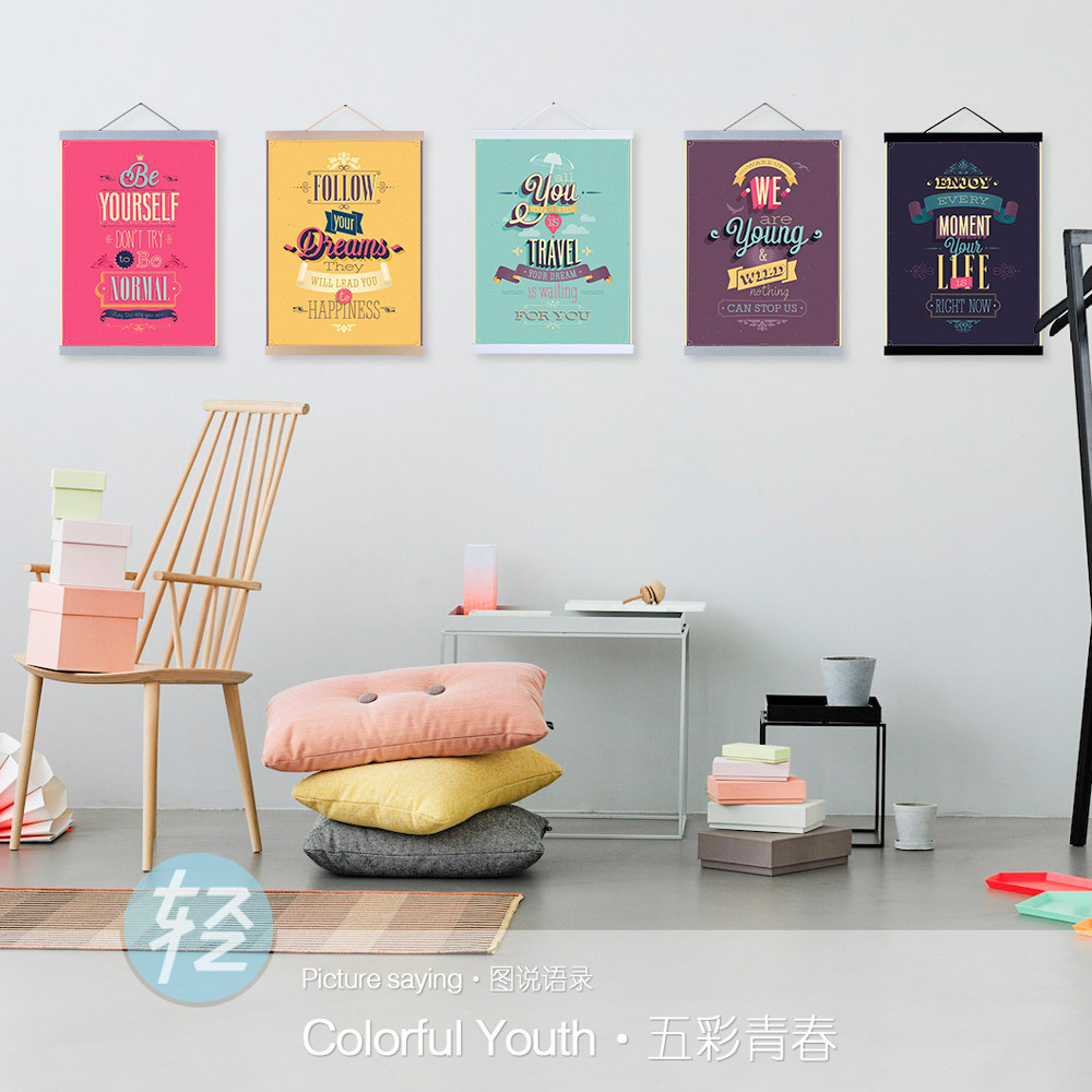 Colorful Youth Modern Inspirational Quotes Hippie Typography Hipster A3 Poster Print Vintage Canvas Painting Wall Art Decor Gift(China (Mainland))