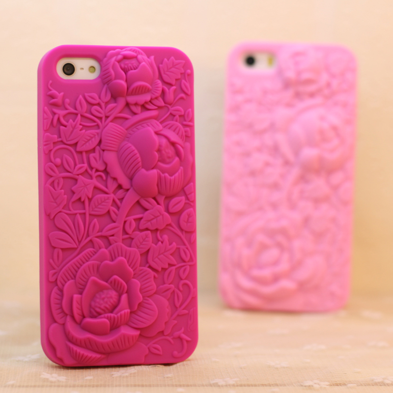 new 5 5s Top Fashion 3D Hollow Carved Roses Peonies Cell Phone Luxury Silicone Cases For Apple iphone 5 5s 5g phone Case Cover(China (Mainland))