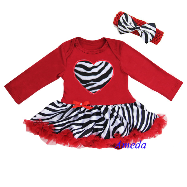 Newborn Baby Girl Cloting Red Zebra Heart with Long Sleeves Bodysuit Tutu and Headband Set 0-18M(Hong Kong)
