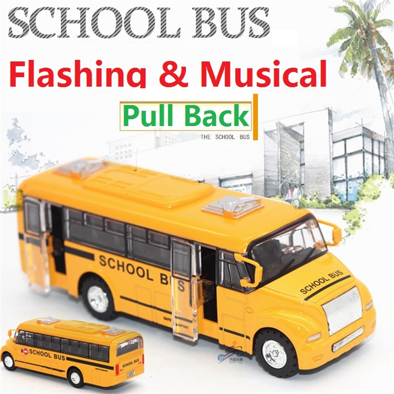 Free Shipping 1:32 Diecast School BUS Toy Vehicles,Alloy Car Toy,Metal Car Toy Model,Musical,Flashing,Pull Back,Doors Openable(China (Mainland))