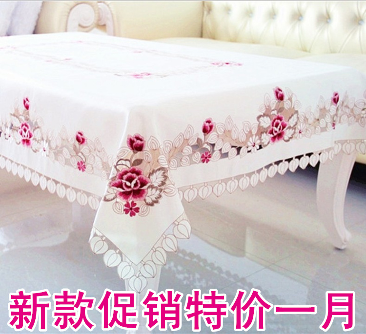 2013 1017 fashion cutout embroidered rustic dining table cloth fabric chair cover set table runner coffee table round tablecloth(China (Mainland))