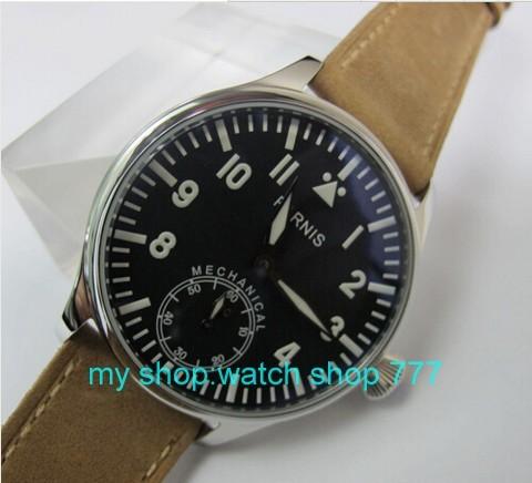 2016 новая мода 44 мм ПАРНИС пилот синий циферблат 6497 Механическая Рука Ветер движения Высокое качество мужские часы оптовая x0040