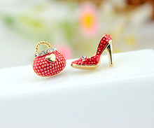 2015 New Fashion Korean Very Cute Bags Heels Shoe Asymmetric Earrings For Women 18K Gold Plated wholesale High Quality XY-E546(China (Mainland))