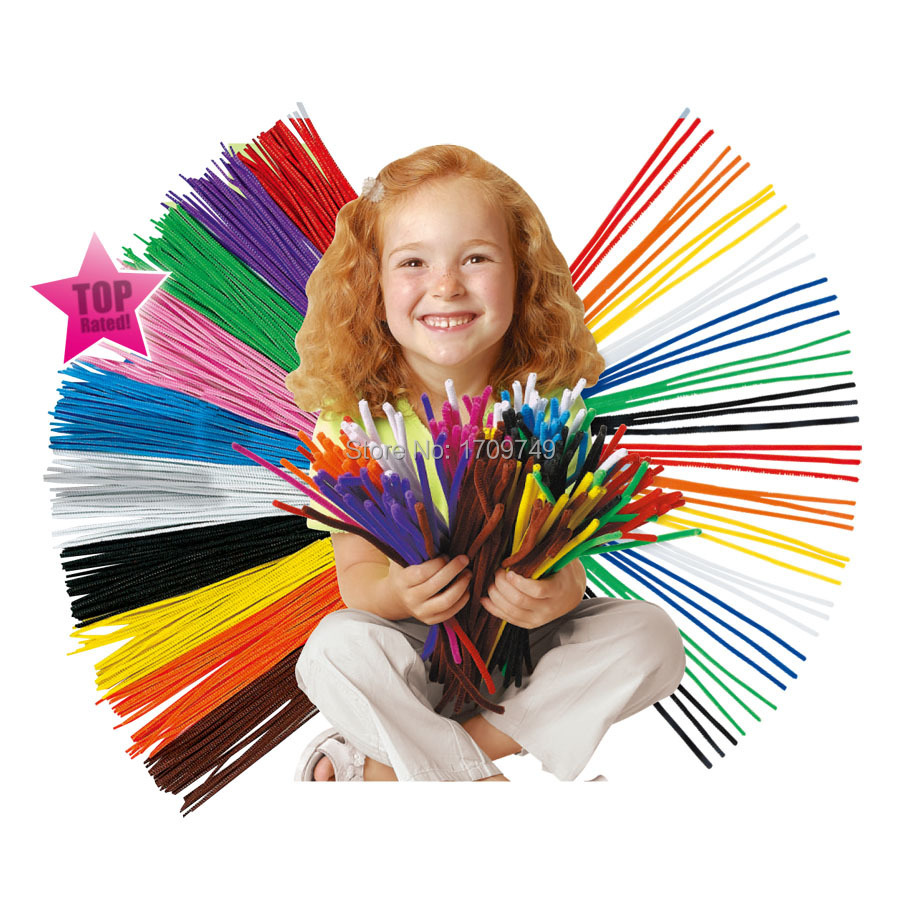 2015 hot 100pcs/pack Color Chenille Stems Pipe Cleaners Kindergarden DIY Handicraft Materials for Creative Kids Education Toys(China (Mainland))