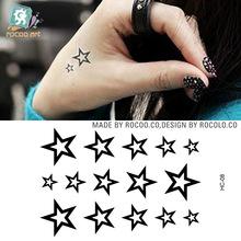 New Fashion Simulation Tattoo Men And Women Waterproof Fake Tattoo Sticker Hollow Five-pointed Star Pattern Temporary Tattoo