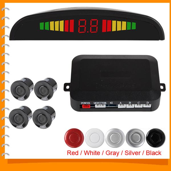 Ultrasonic LED Car Reverse Parking Sensor System Auto Backup Radar Kit with 4 Sensor Audible Alarm - Red White Gray Silver Black(China (Mainland))