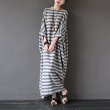 SERENELY 2016 Summer Dresses Retro Vintage Striped Batwing Sleeve Robe Maxi Long Loose Plus Size Women Dress Casual Linen Dress(China (Mainland))