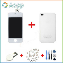 White Touch Screen LCD Display Digitizer Glass Back Housing Cover Home Button Replacement part For iPhone