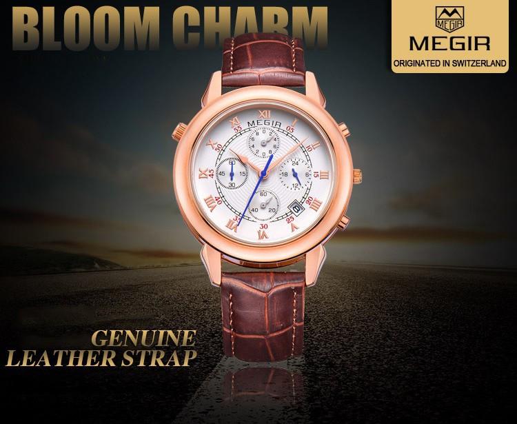 Новое Прибытие Натуральная Кожа Кварцевые Часы MEGIR 2510 Люксовый Бренд Календарь Дата Мужчины Моды Случайные Часы