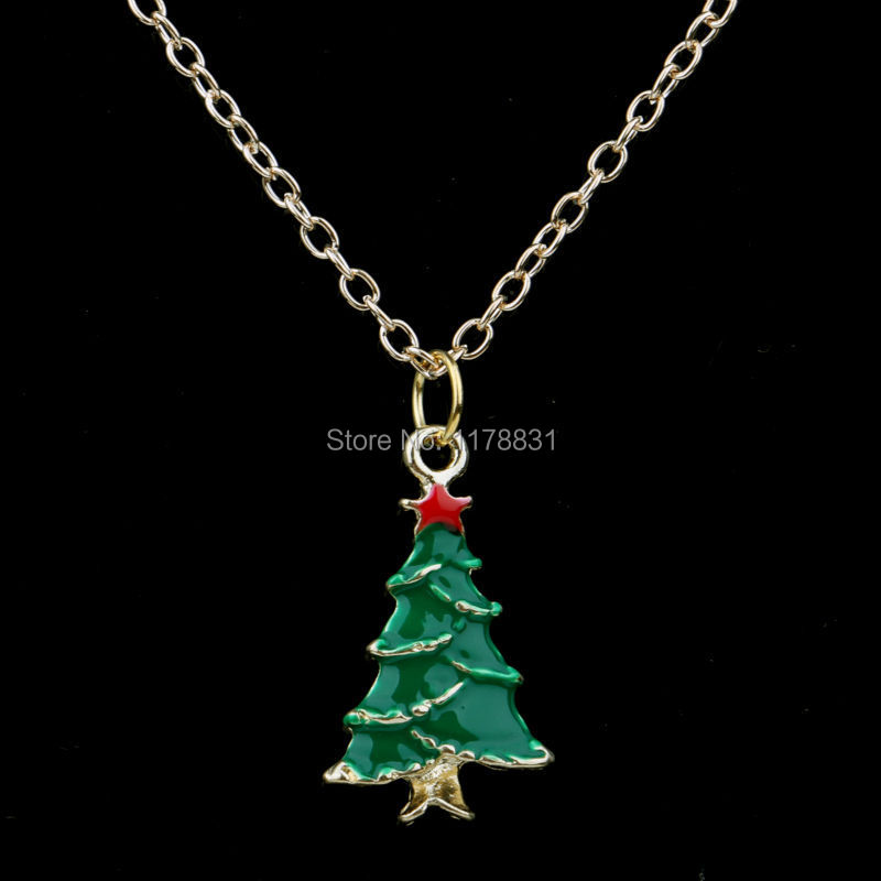 2015 Happy New Year Jewelry Necklace Fashion Alloy Jewelry Gold Plated Lovely Christmas Tree Pendants & Necklaces For Women/Men(China (Mainland))