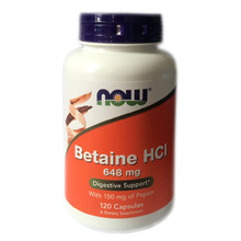 Now Foods Betaine Hcl 648 mg with 150 mg of pepsin 120 capsules Free shipping(China (Mainland))