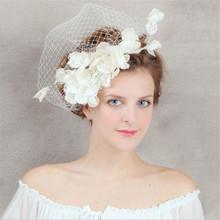 Hot New Fashion Bride Hairpin Net Yarn veil Hemp Flower Lace hat Handmade prom Dinner Party Gift pearl Wedding Dress Accessories