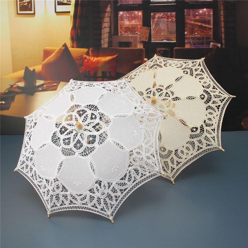 Hot Sale White Handmade Embroidered Lace Parasol Sun Umbrella Bridal Wedding Birthday Party Decoration(China (Mainland))