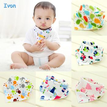 High quality double layers cotton baby bibs Burp Cloths Lovely Cartoon Character Animal Print baby bandana bibs dribble bibs