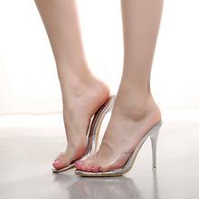 Women's Summer Korean Simple Ladies Black High Heeled Sandals Buy Transparent Shoes Online Stiletto Heel Slippers