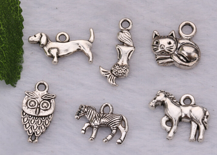 Wholesale 120pcs Vintage Fashion Jewelry Accessories Alloy Ancient Silver Mixed Type Cat Dog Horse Animal Charm Necklace&Pendant(China (Mainland))