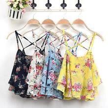 2016 Women's Summer Sleeveless Strap Flower Print Chiffon Shirt Vest Blouses Crop Top 6KCQ 7G5E 8A6Y
