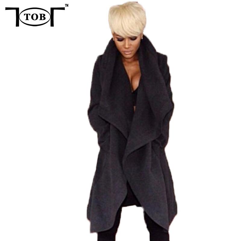 2016 new fashion fall winter coat women sexy black long sleeve thin cardigan woolen coat women outwear elegant overcoat XD114(China (Mainland))