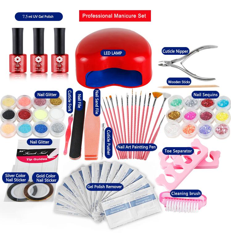 Professional DIY Gel Polish Set Soak LED/UV Kit 3W LED Curing Lamp Nail Art Tools