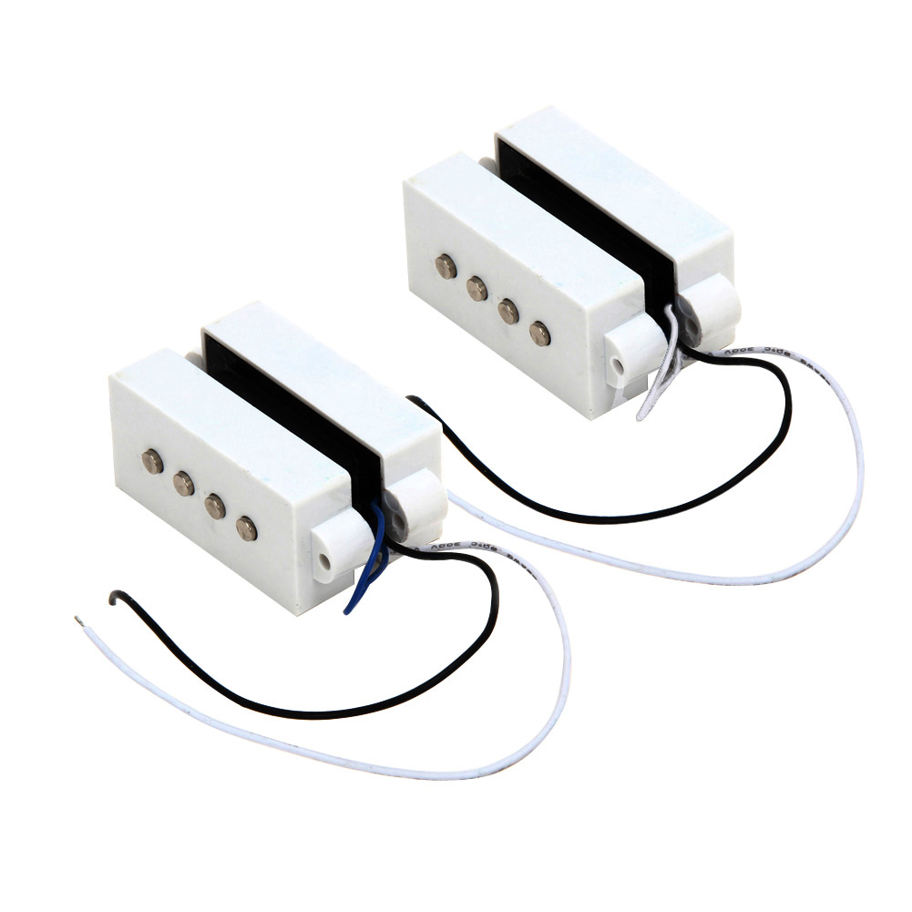 2 Pcs white 4 String Noiseless Pickup Set For Precision P Bass Set 4 String Hum Guitar Practical Accessories US#V(China (Mainland))