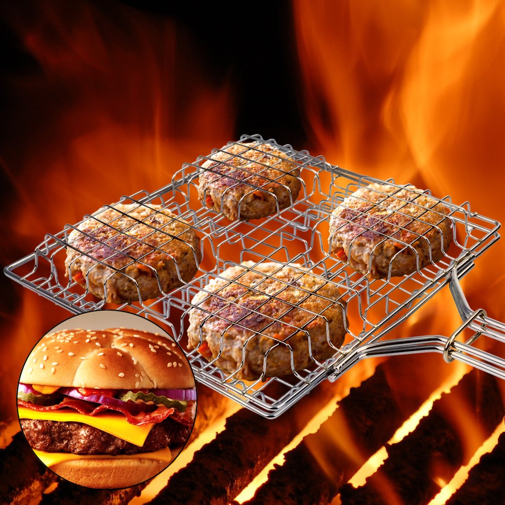 Kalrede burger basket grill with wood handle (Holds 4 stuffed burgers ) CKH9PCF01-US(China (Mainland))