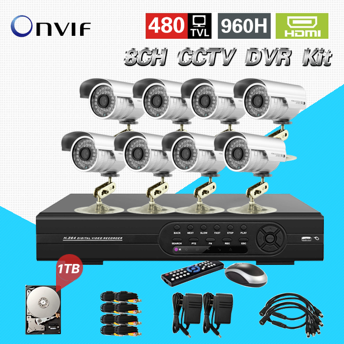 home 8 Channel IR Waterproof video Surveillance CCTV security Camera system with 960h DVR nvr Recording system1tb HDD CK-105<br><br>Aliexpress