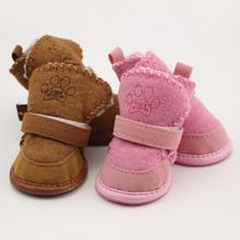 Zapatos de perro de Peluche mascota de espesor inferior suave antideslizante botas de nieve Pequeños Perros de Invierno botas de algodón Suave 4 UNIDS/SET(China (Mainland))
