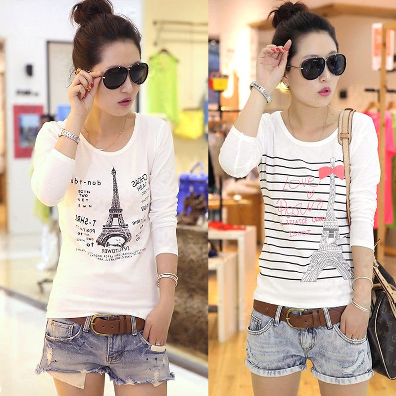 t shirt women tshirt camiseta feminina woman clothes camisetas mujer t-shirt summer style long sleeve casual blusas white tee(China (Mainland))