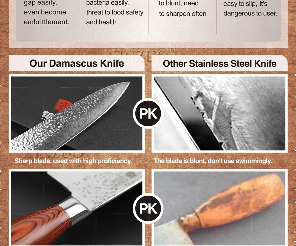 """Buy 2016 Newest 73 layers 8"""" chef knife Japan Damascus steel kitchen knife with Color wood handle high quality sharp free shipping cheap"""