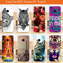 Buy Hot Sale diy painting Colored tiger cat rose flowers eiffel towers design Back Case HTC Desire SV T326E Cover for $1.26 in AliExpress store