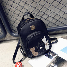 Buy New Cat Backpack Black Preppy Style School Backpacks Funny Pu Leather Fashion Women Shoulder Bag Travel Back Pack Sac for $17.57 in AliExpress store
