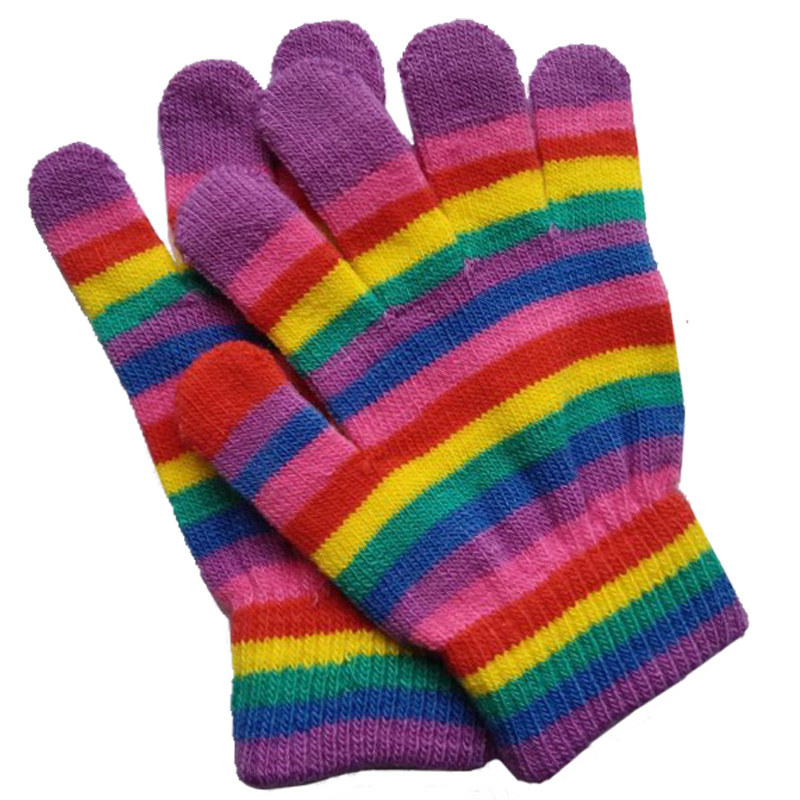 2015 Winter Warm Gloves Kids Striped Wool Strentch Knitted Mittens Fitness Gloves For 4-10Years Girls Boys Children Gloves(China (Mainland))
