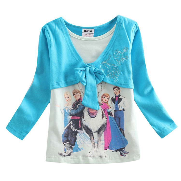 5 sizes New 2015 Children T-shirt Girls Tees Baby Girl long Sleeve Elsa Anna T Shirts Kids spring Wear Clothing