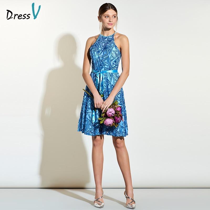 Dressv a line knee length bridesmaid dress halter blue sleeveless backless wedding party dress sequins short bridesmaid dresses(China (Mainland))