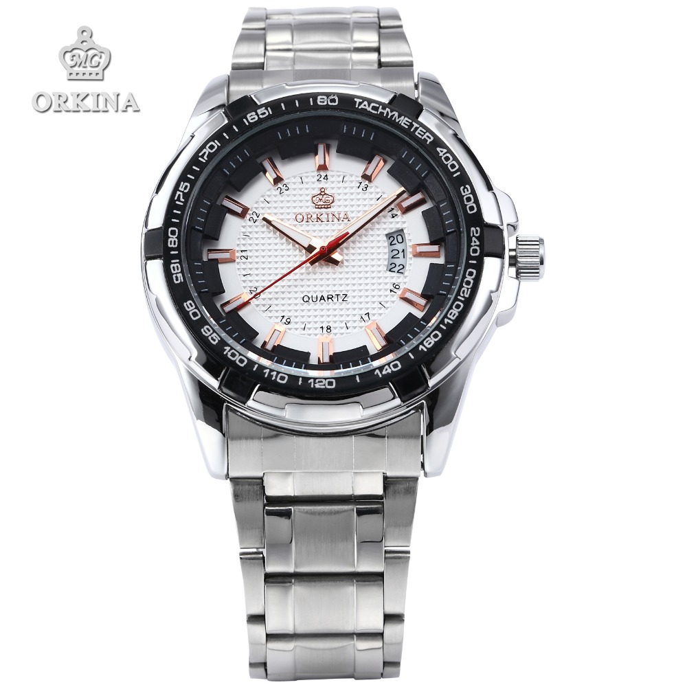 Orkina Original Brand Men'S White Dial Date Analog Silver Stainless Steel Case JP Quartz Army Sport Wrist Watch 2016 New Clock(China (Mainland))