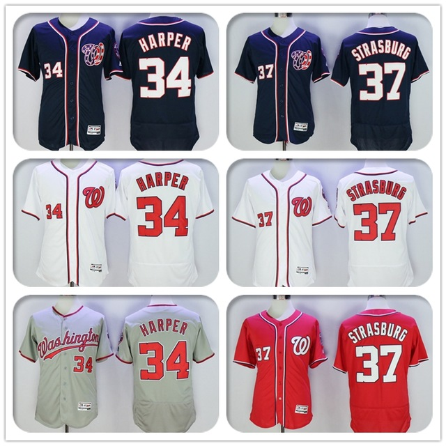 2016 New Fabric Mens Flexbase Version 34 Bryce Harper 37 Stephen Strasburg Jersey Color Red Blue Gray White Throwback Jerseys(China (Mainland))