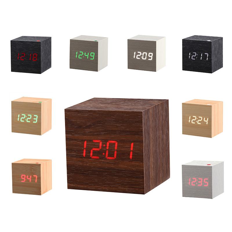 New Modern Wooden Led Clock Square Style Desktop Clock Led Digital Single Face Alarm Clock Voice Activated Watch despertador(China (Mainland))