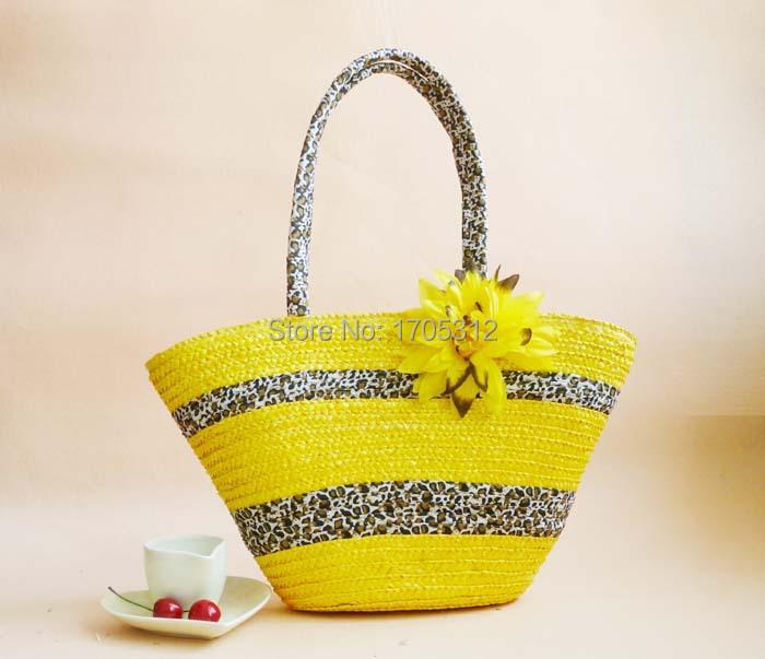 Summer style beach bag women leopard bag straw basket bag cheap summer purses straw bags bolsos playa mujer 2015 totebag bolsas(China (Mainland))