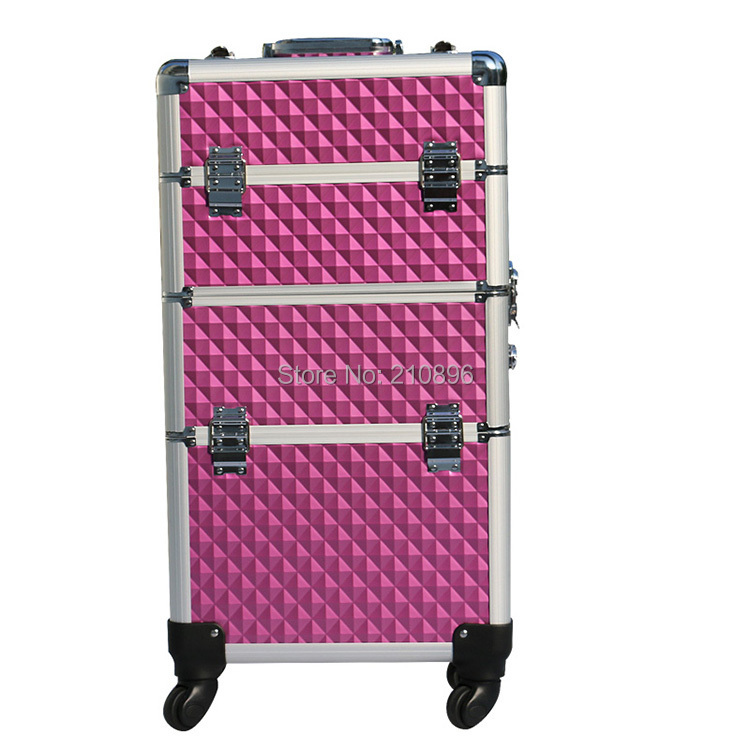 Trolley 2-in-1 Aluminum Rolling Makeup Case aluminum makeup train case(China (Mainland))