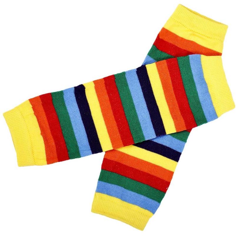 1-3 Years Olds Amazing Baby Girl Rainbow Coloful Kneepad Socks Leg Warmer Cover