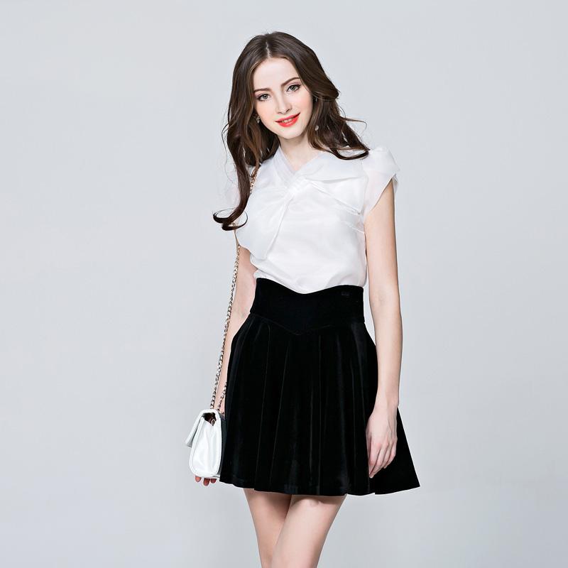 2016 new brand summer fashion organza big bow designer puff short-sleeve OL women's shirts blouses tops 3609(China (Mainland))